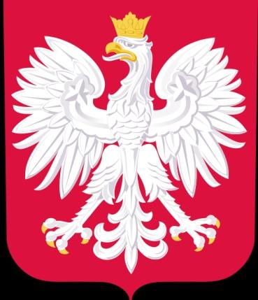 Godło Polski (biały orzeł w koronie na czerwonym tle)